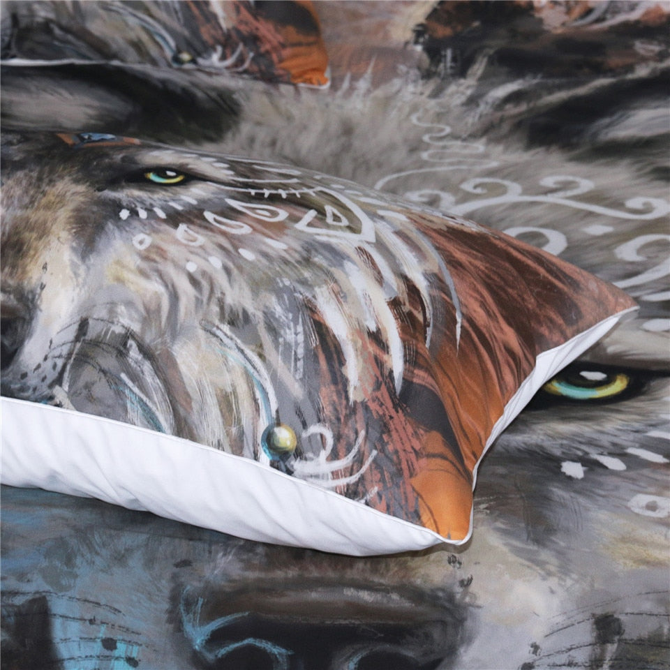 Indian Wolf With Feather Dreamcatcher Bedding Set - Beddingify