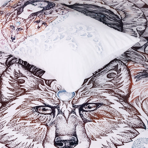 Woman Wolf Bedding Set - Beddingify