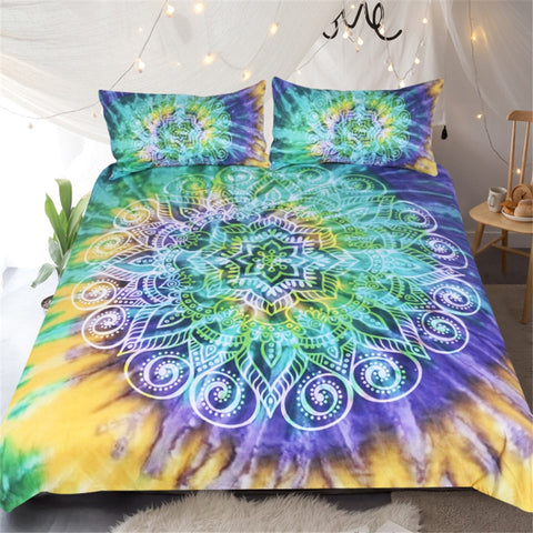 Image of Lotus Tie Dye Mandala Bedding Set - Beddingify