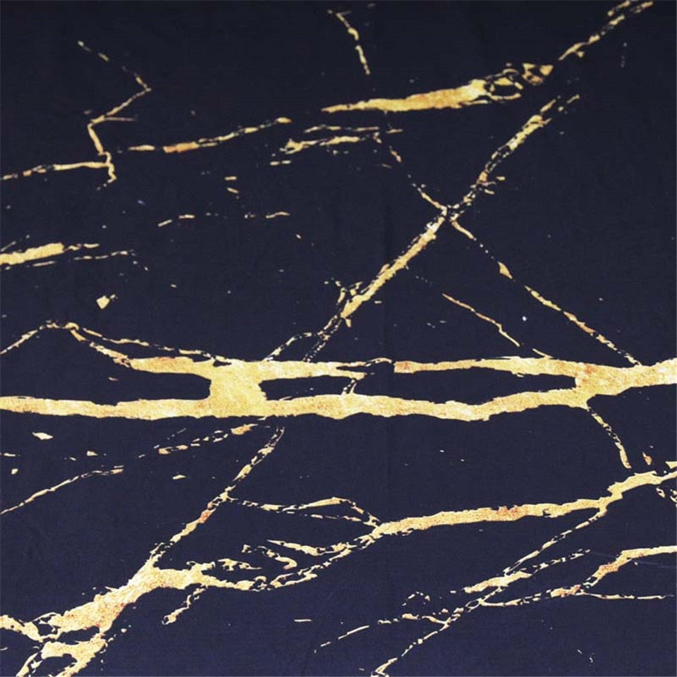 Gold Glitter Black Marble Stone Bedding Set - Beddingify