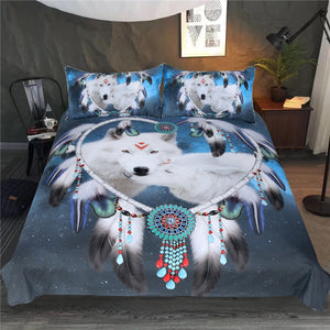 Native American Wolf Dreamcatcher Bedding Set - Beddingify