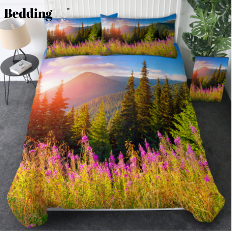 3D Printed Sunset Flower Bedding Set - Beddingify