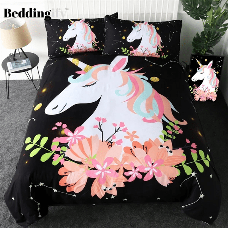 Pink Flower Unicorn Bedding Set - Beddingify