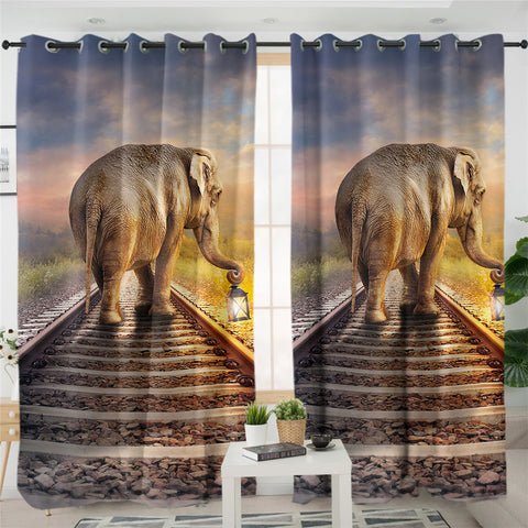 3D Elephant On Railway 2 Panel Curtains