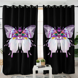 Cat Morph Butterfly Dark 2 Panel Curtains