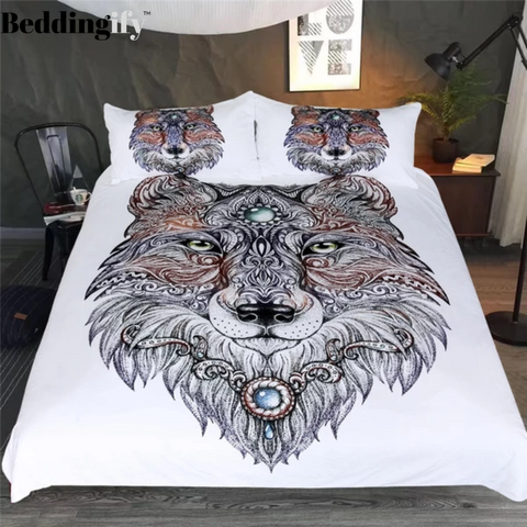Tattoo Head Wolf Bedding Set