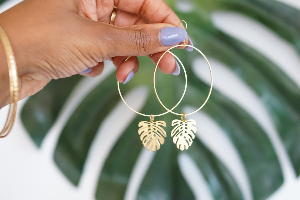 Monstera Drip Earrings