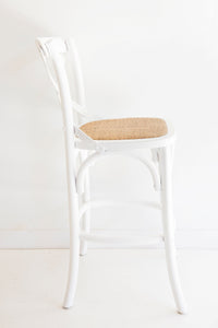 Provincial Cross Back Counter Stool – White