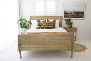 King Size Hamilton Cane Bed – Weathered Oak