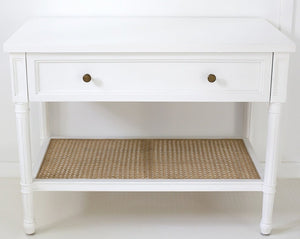 Bedside Table Hamilton Cane Wide - White