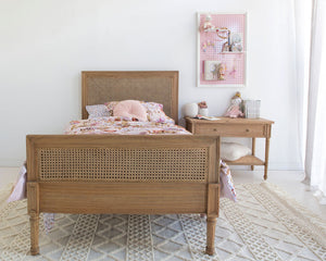 Hamilton Cane Bed - King Single - Weathered Oak