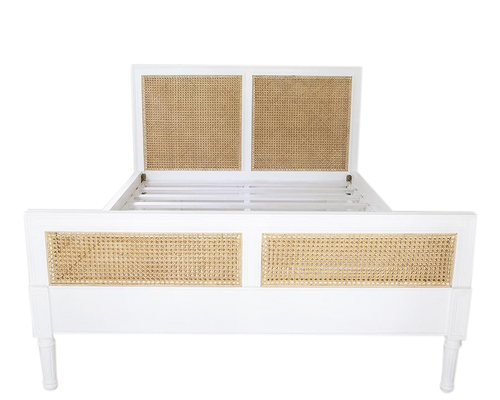 Queen Size Hamilton Cane Bed - White