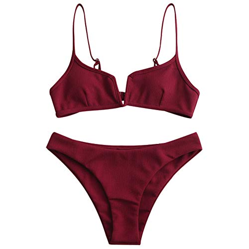 ZAFUL Women's V-Wire Padded Ribbed High Cut Cami Bikini Set Two Piece Swimsuit