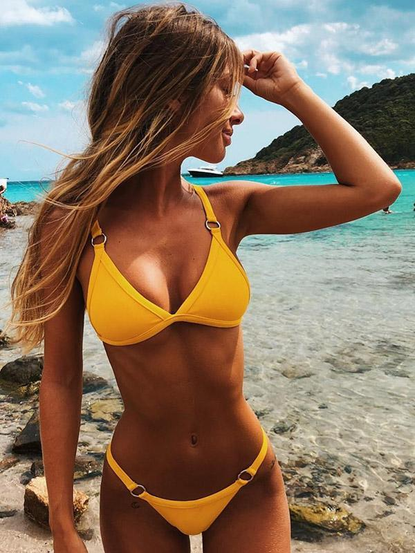 Solid Triangle Top Bikinis Swimwear