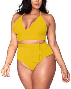 Sovoyontee Women's Plus Size High Waisted Tummy Control Swimwear Swimsuit Full Coverage at Amazon Women's Clothing store