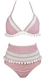 COCOSHIP Women's Mesh Striped High Waist Bikini Set Tassel Trim Top Halter Straps Swimsuit(FBA)