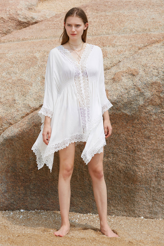 Floral Lace V-neck Batwing Sleeves Cover up
