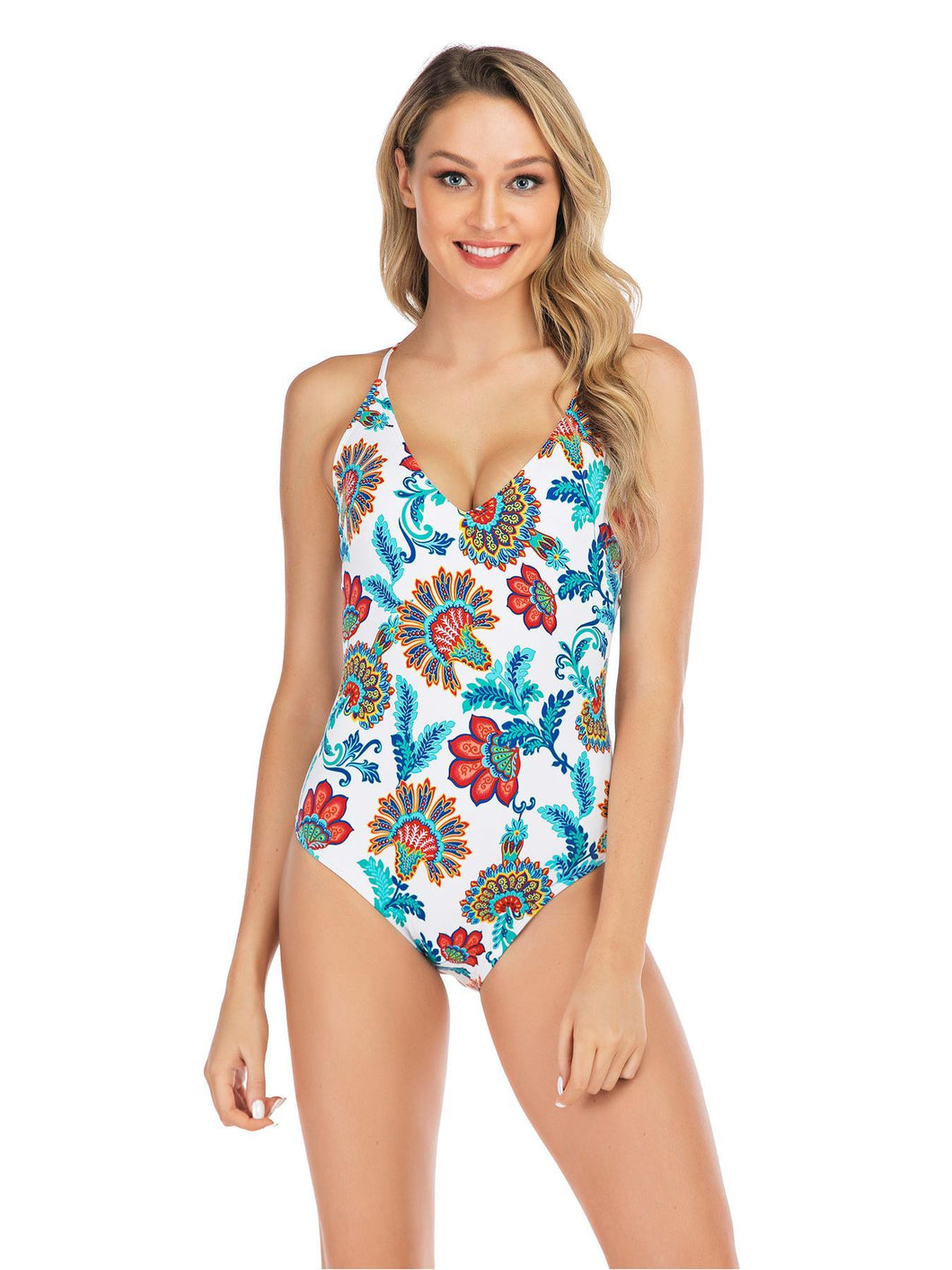 Women's Peacock Printed One Piece Swimsuit