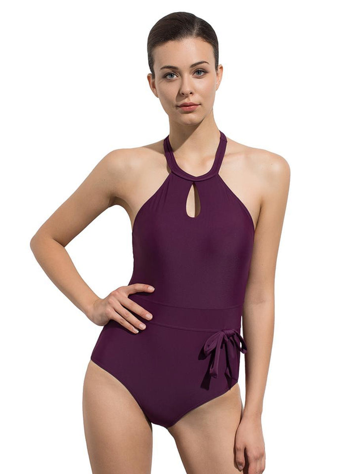 Two Straps Backless Classic One Piece Swimsuit