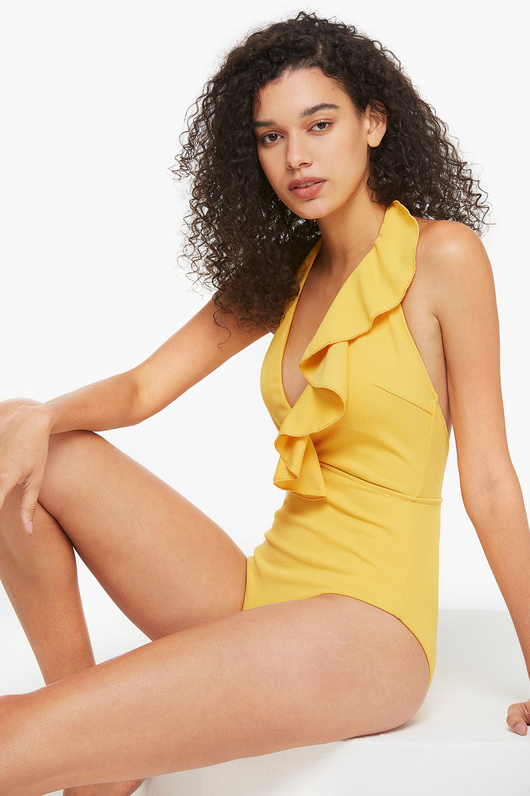 Deep Plunging Ruffled Halterneck One Piece