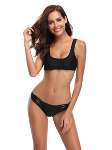 Bottom Hollow Out Bandeau Black Bikini