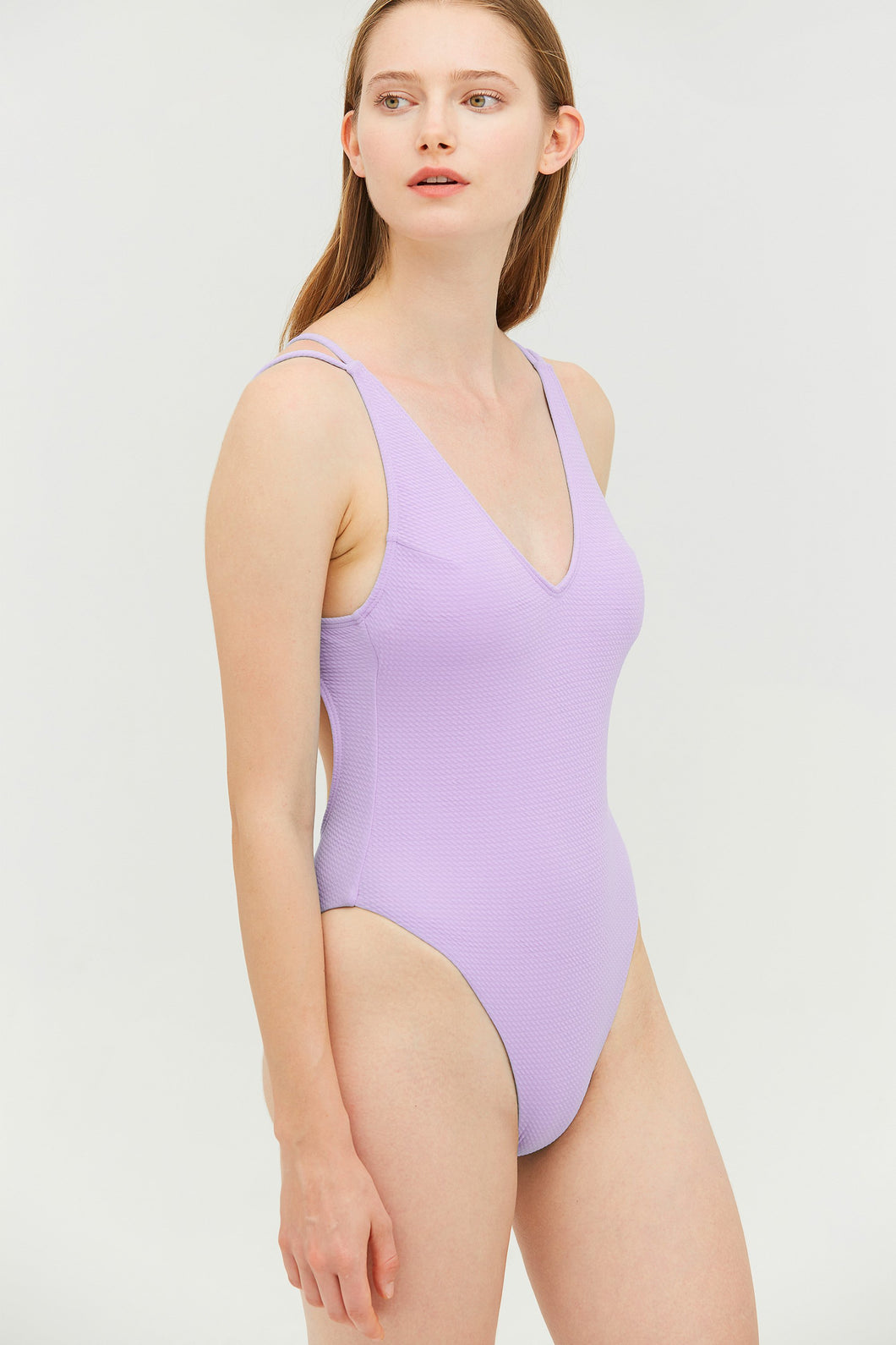 Lilac Strapy One-piece Swimsuit
