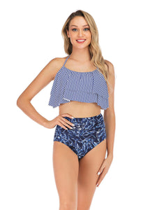 Two Piece Halter Bikini Set Stripe Print