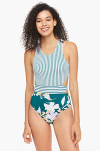 Crossback Stripe and Floral One-piece Swimsuit