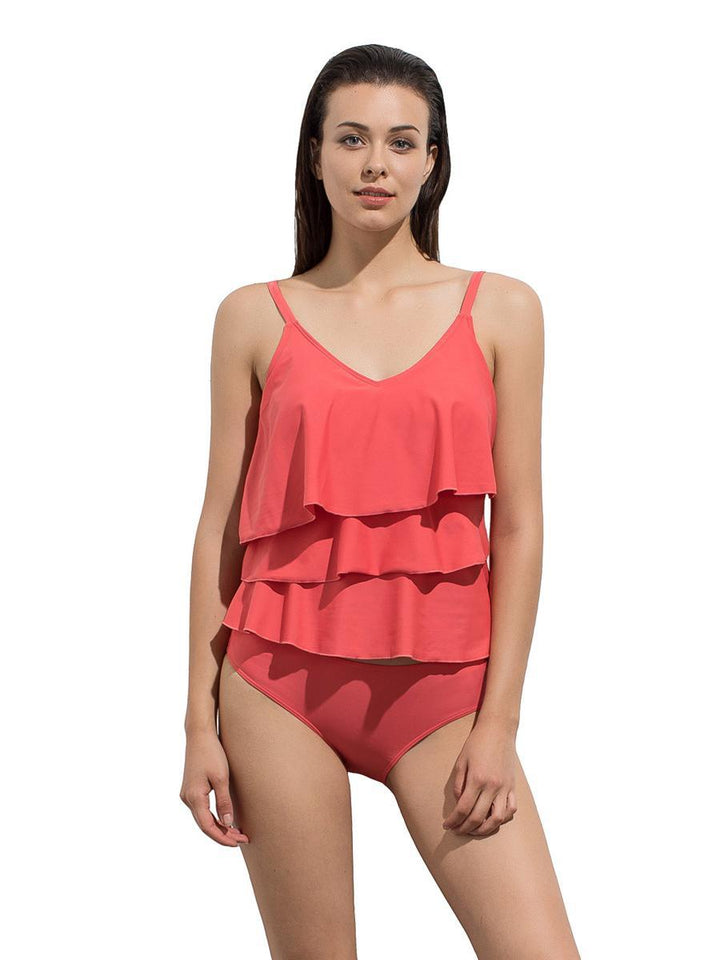 Triple Ruffle Design One Piece Swimsuit