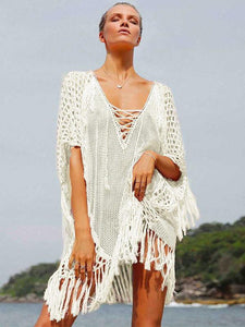 Knitting Tasseled Cover-Ups Swimwear