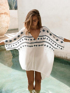 Asymmetric Printed Cover-Ups Swimwear