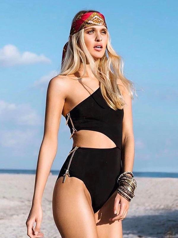 Single Shoulder Zipper Side One-piece Swimwear