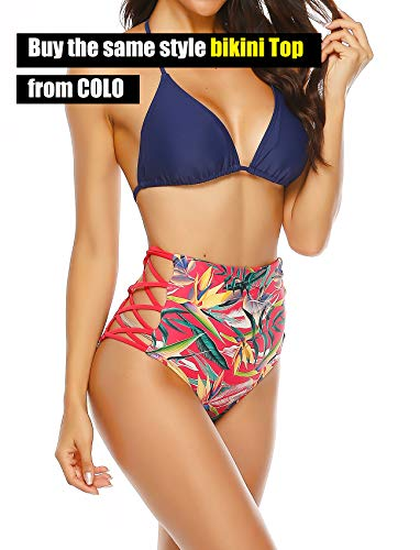 COLO Women Sexy Bikini Bottoms Lace Strappy Sides High Waisted Retro Bathing Suit Underwear Swimsuit