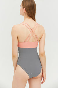 Strappy Pink and Stripe Colorblock One-piece Swimsuit