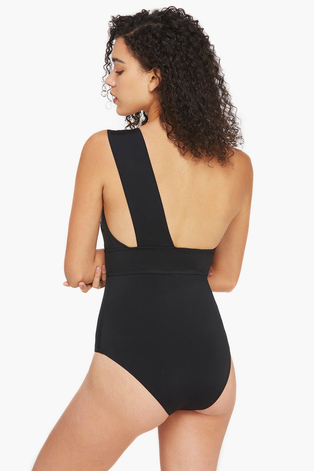 Black One Shoulder Folded Topline One-piece Swimsuit