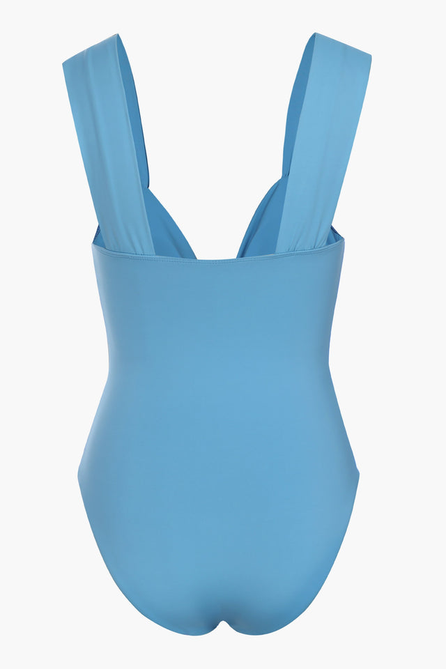 Blue Ruched One Piece Swimsuit