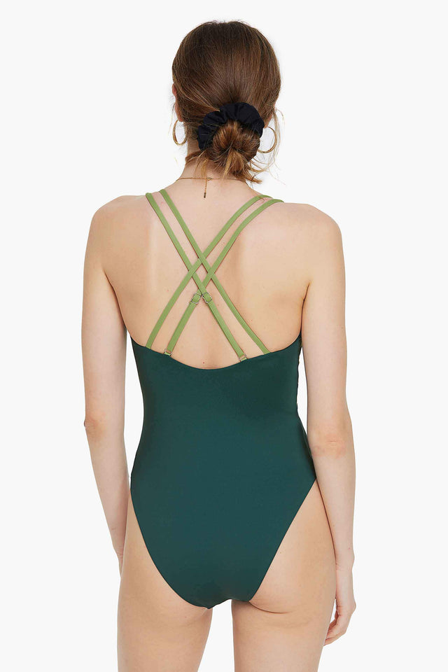 Criss Cross Color Block One-piece Swimsuit