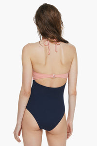 Scallop-edge Color Block One-piece Swimsuit
