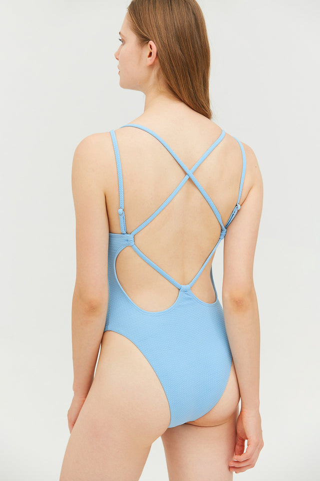 Blue Strappy Backless One-piece Swimsuit