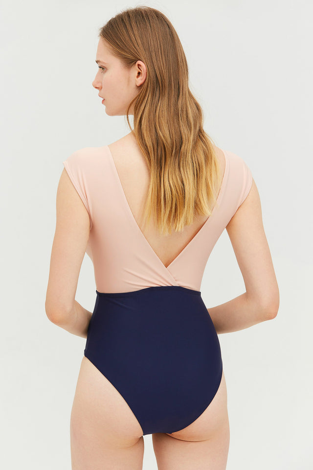 Pink Colorblock One-piece Swimsuit
