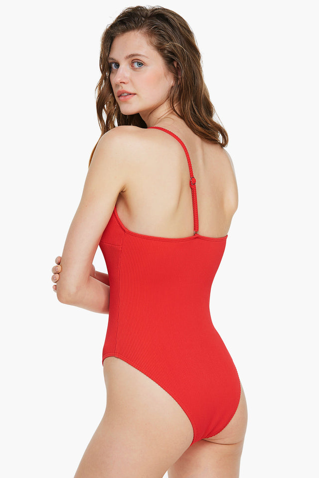 Ribbed Red One-shoulder One Piece Swimsuit