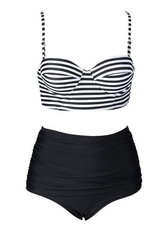 Stripe Bikini Set High Waist and High Leg Cut
