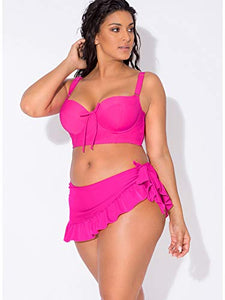Smart & Sexy Women's Full-Busted Supportive Underwire Swimsuit Bikini Top, Fuchsia Sizzle, 40D