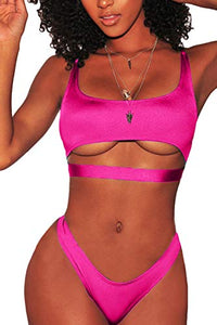 FAFOFA Womens Sexy Scoop Neck Straps Cutout High Cut Thong 2PCS Bikini Sets Swimsuit