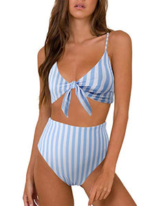 Blooming Jelly Womens High Waisted Bikini Set Tie Knot High Rise Two Piece Swimsuits Bathing Suits