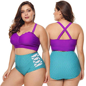 2019 Women's Plus Size Swimsuit High Waisted Ruffles Push up Halter Bikini Mermaid Costumes Set