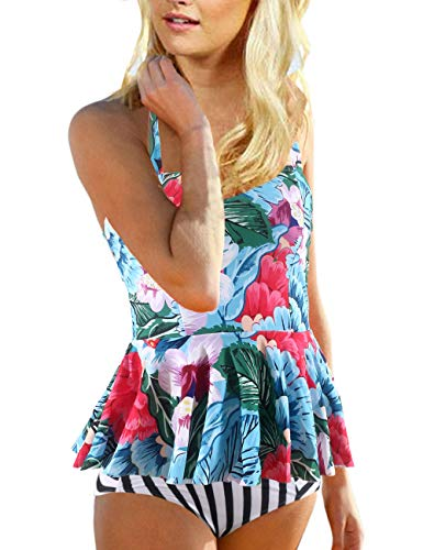 Womens Retro High Waisted Bathing Suits Vintage Tankini Print Swimsuits Bikini Set for Women