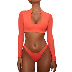 LALA IKAI Women's Long Sleeves Swimsuit Mesh Cover up Cutout Thong Bikini Bathing Suits Two Piece Swimwear