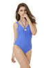 Blue Off Shoulder String Halter One Piece Bathing Suit