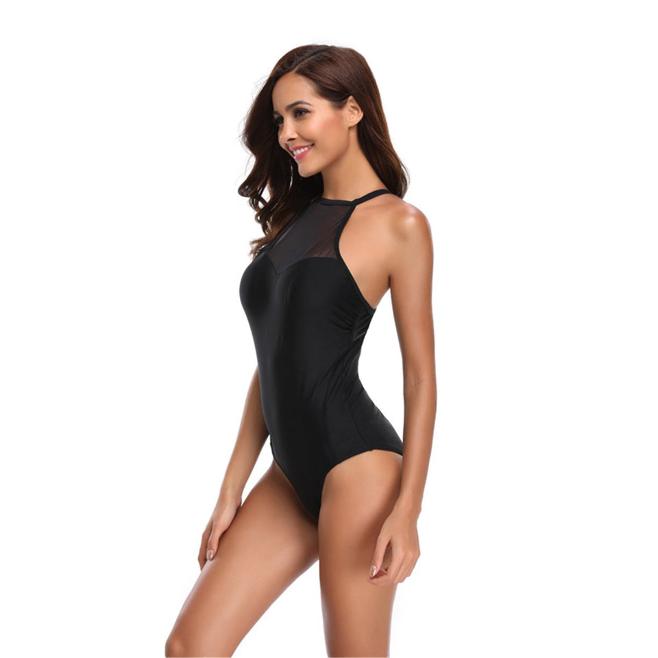 Mesh Patchwork Black Color One Piece Swimsuit